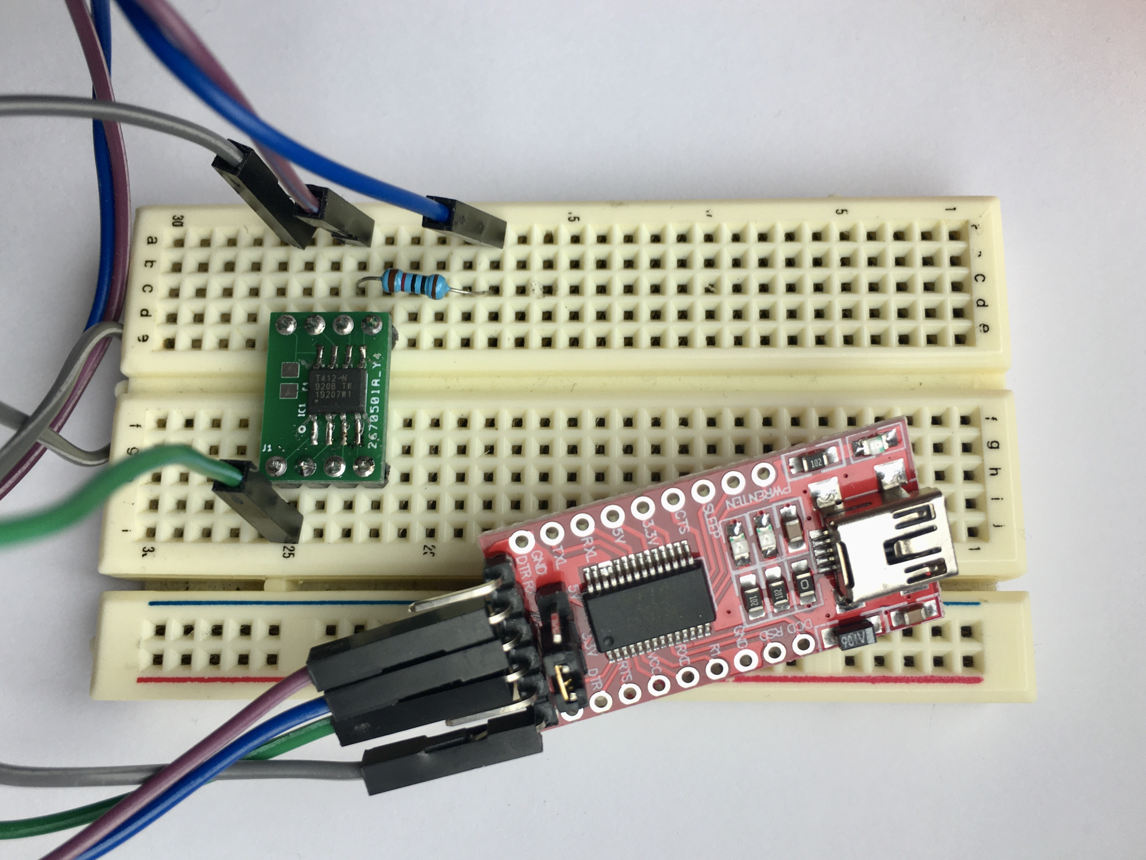 ATtiny412 connected to the USB to serial adapter