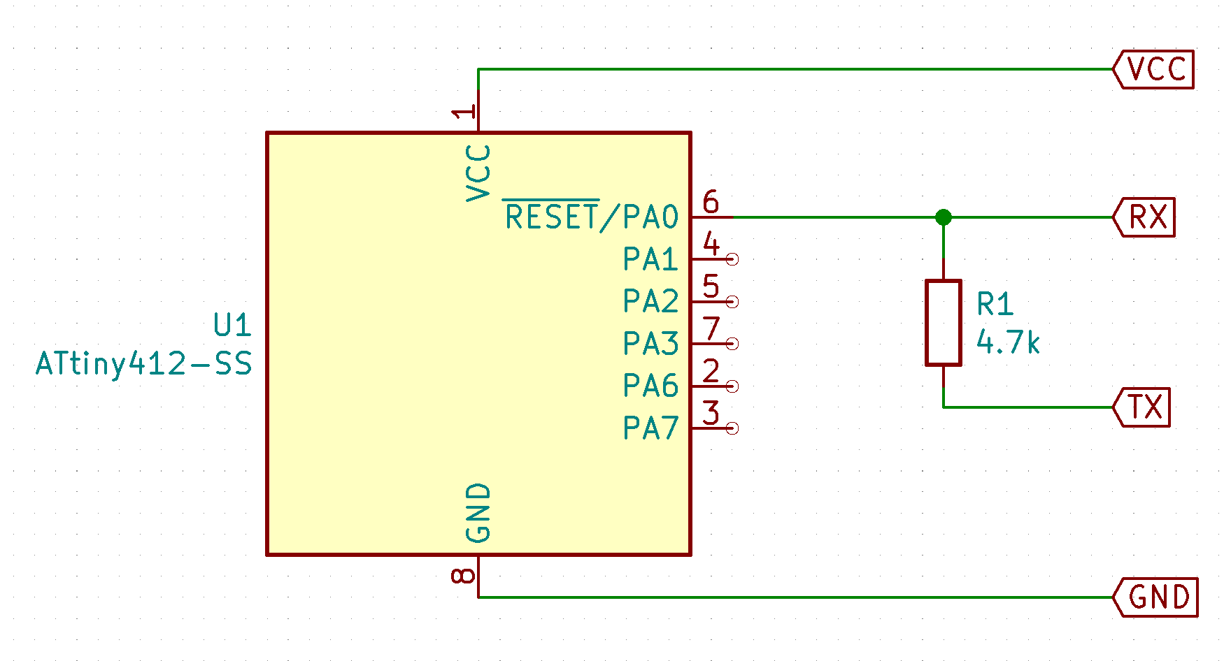 ATtiny412 connections to the UPDI programmer