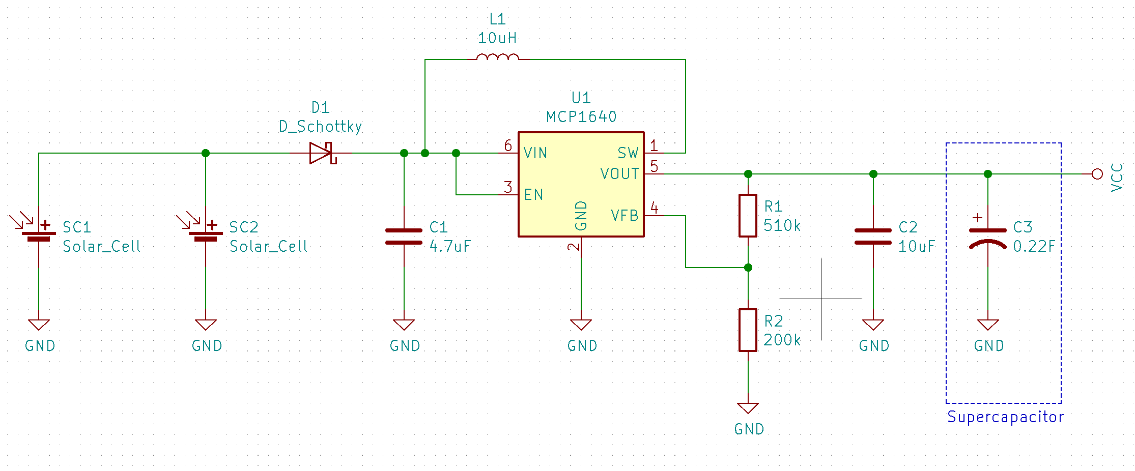 Solar charging circuit with MCP1640 boost converter